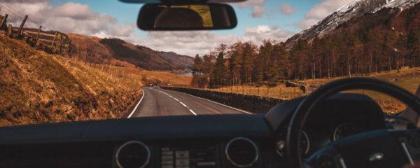 Vue du conducteur de voiture